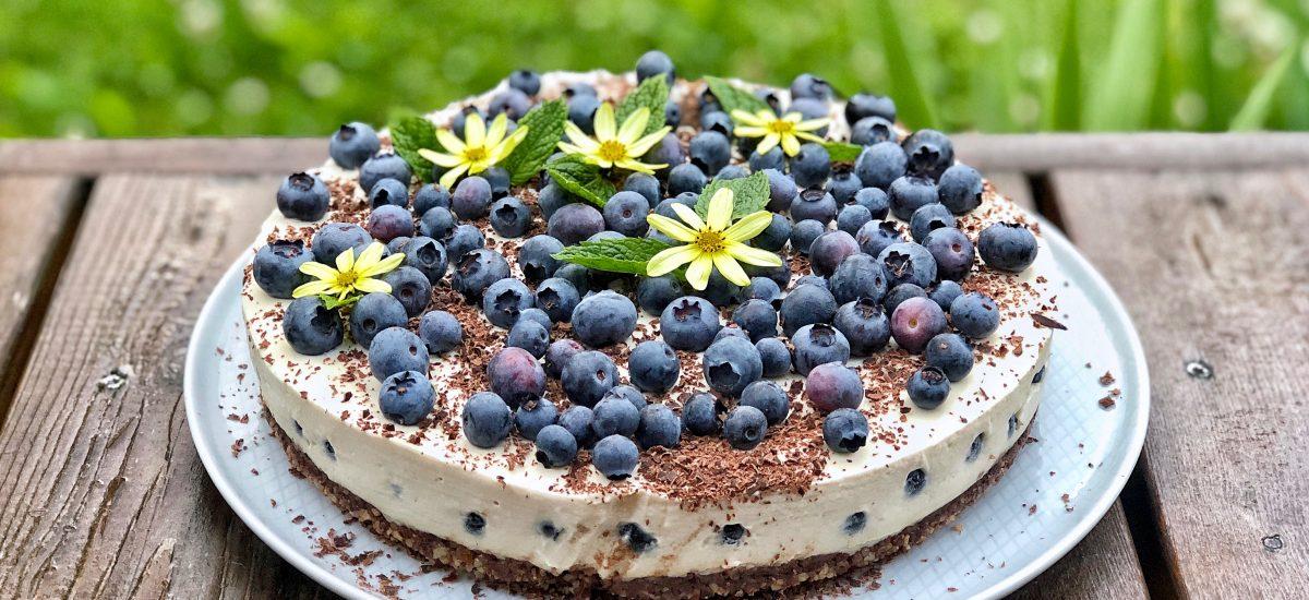 Veganiškas sūrio tortas su šilauogėmis